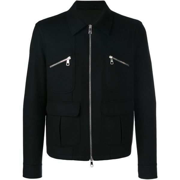 Neil Barrett zip detail jacket (1,605 CAD) ❤ liked on Polyvore featuring men's fashion, men's clothing, men's outerwear, men's jackets, black and neil barrett