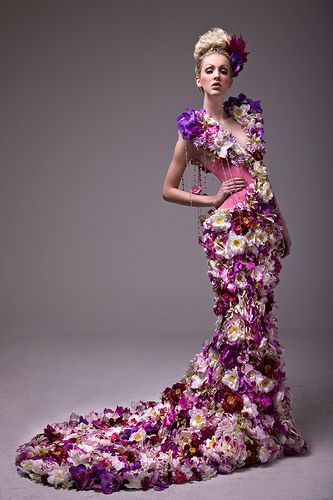 ~Dress made from fresh flowers; designer unknown via Khun_K - Flickr