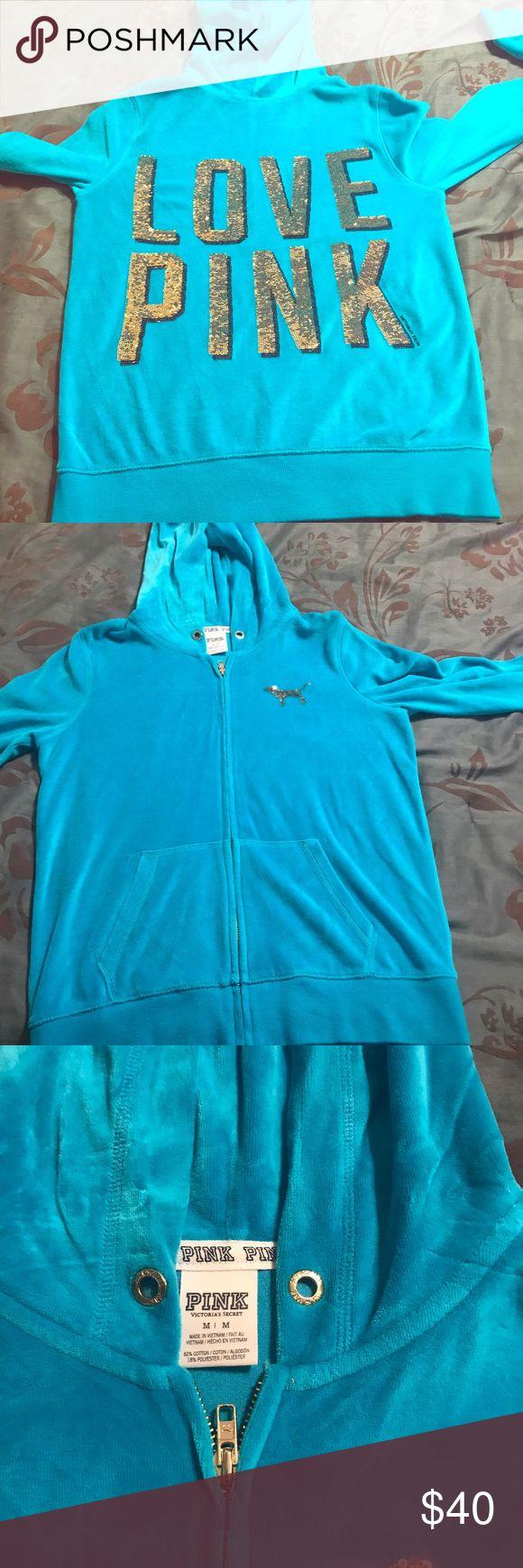 🌟🌟🌟Bling VS Pink Hoodie🌟🌟🌟 Turquoise VS Pink hoodie size M worn once. Great condition PINK Victoria's Secret Tops Sweatshirts & Hoodies