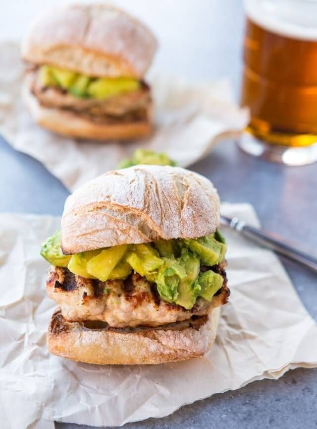 Grilled Turkey Burger with Avocado, Pineapple, Ginger Salsa