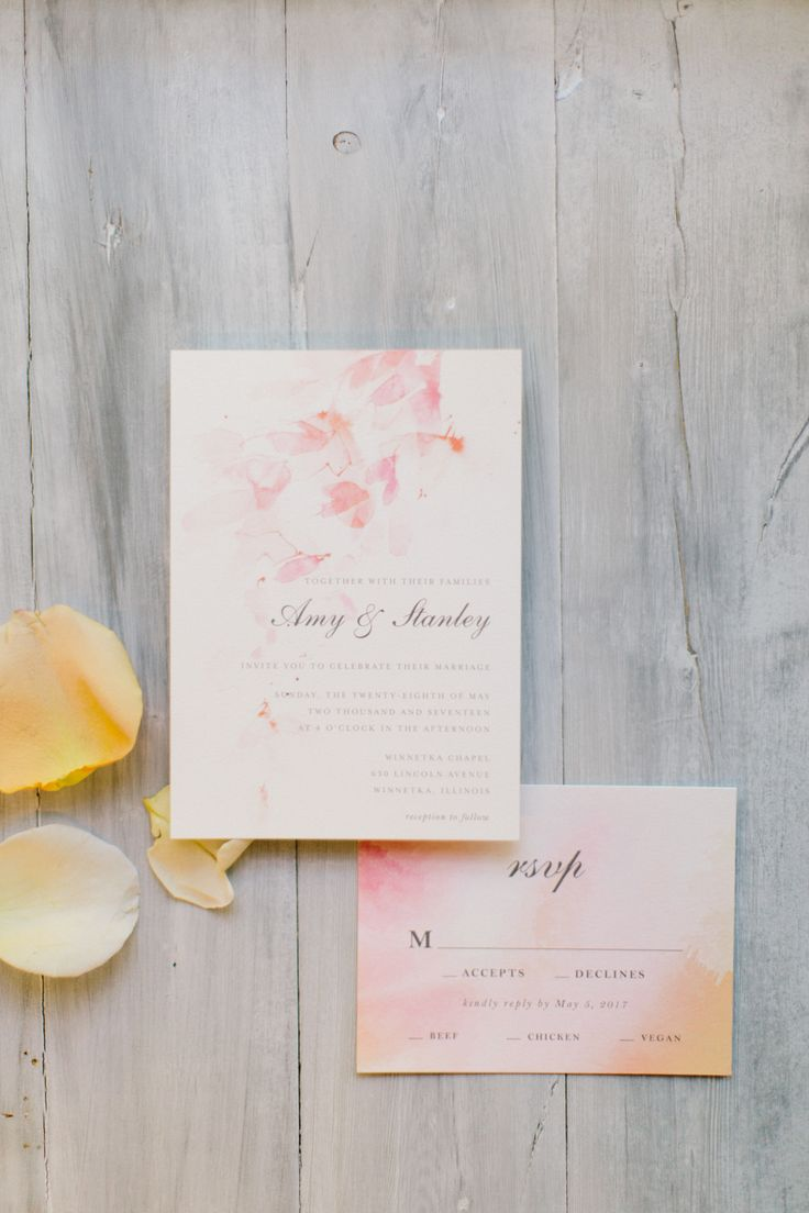 This Duo Dated Nearly A Decade Before Getting Engaged. Watercolor Wedding  Invitation ...