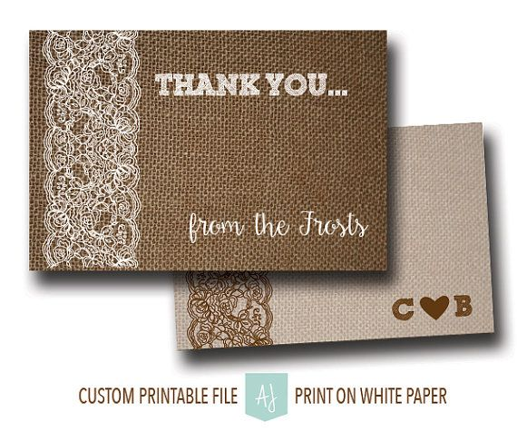 Thank you Card- Burlap and Lace Custom Thank You Note-Printable File Only- Digital Card for the DIY Bride. Click through to find matching games, favors, thank you cards, inserts, decor, and more.  Or shop our 1000+ designs for all of life's journeys. Weddings, birthdays, new babies, anniversaries, and more. Only at Aesthetic Journeys