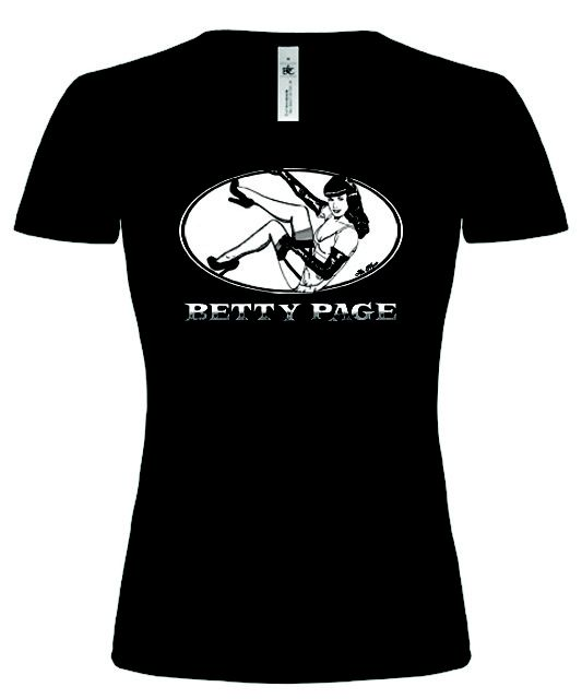 BETTY PAGE's silkscreened T-Shirt Man FRUIT OF THE LOOM 160gr 100% Cotton  Girl  B  145gr 100% Cotton Ring Spun  Sizes: S/M/L/XL Limited edition. By Ale Mono