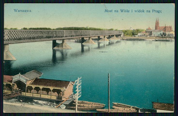 Pocztówka: Warszawa, most na Wiśle i widok na Pragę, Wydawnictwo K. Wojutyńskiego (ante 1915)
