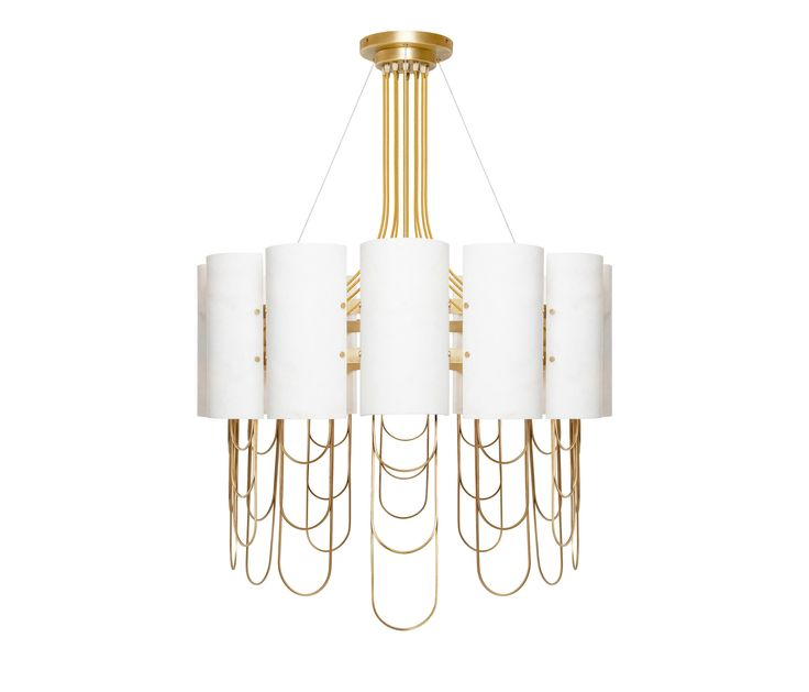 AS PICTURED – Shades in carved Estremoz marble, rims in Brushed Plain Brass finishing. Electric cables in fabric. FINISHES – Body: Estremoz, Estremoz..