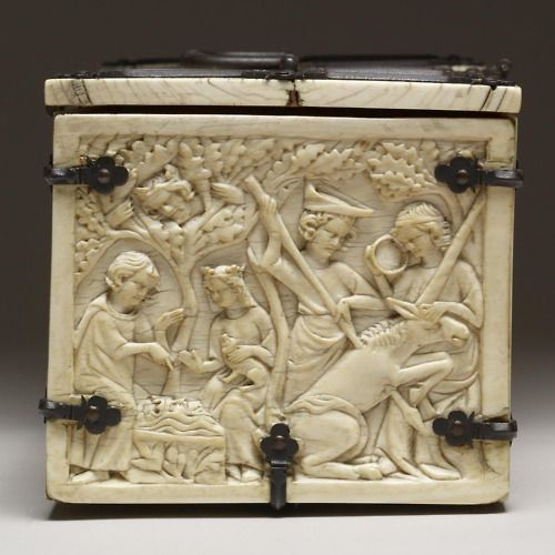 Carved Ivory made in France, 1330-50.    Left panel from a casket with scenes from allegories and chivalric romances. The casket includes episodes from the stories of Tristan and Iseult, Aristotle and Phyllis, Gawain, Galahad, and Lancelot, as well as a joust and the assault on the Castle of Love.