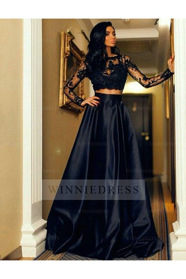Shop discount A-Line O-Neck Lace Crop Top Satin Skirt Sheer Long Sleeve Navy Blue Two Piece Prom Dress WNPD0527
