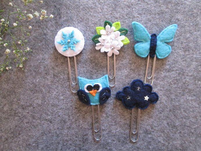 Set di 5 graffette invernali: fiocco di neve, bouquet, nuvola, gufo, farfalla; Segnalibri in feltro; Planner accessories; Regalo per lettori di TinyFeltHeart su Etsy