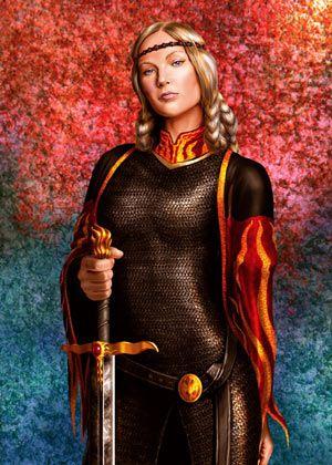 Königin Visenya Targaryen (29 v.A.E - 44 n.A.E), Aegons ältere Schwester und Ehefrau, Mutter von König Maegor I. (von Amok).