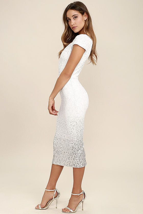 Feeling fine and fancy is what the Dress the Population Cece White Ombre Sequin Midi Dress is all about! Matte white sequins stun over short cap sleeves, and a darted bodice with V-neck and back. Bodycon midi skirt transitions to shiny silver. Kick pleat and hidden zipper at back.