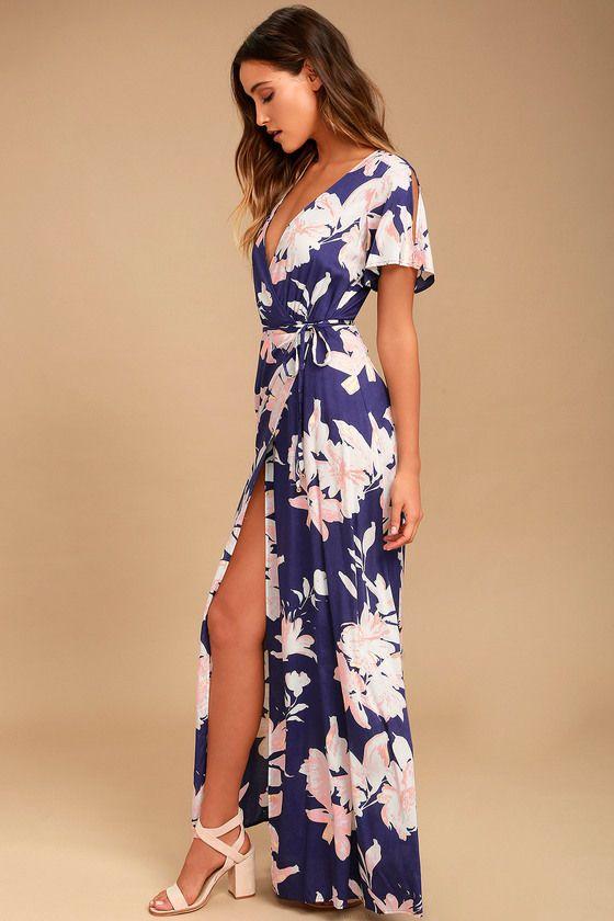 5ad2dc4f0a0 Azalea Regalia Navy Blue Floral Print Wrap Maxi Dress 3