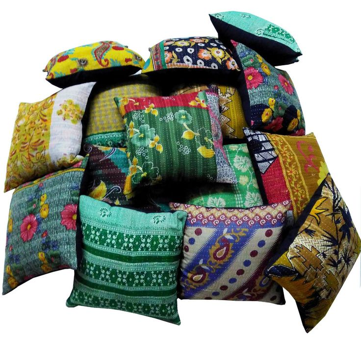 100% COTTON VINTAGE KANTHA CUSHION COVER PILLOW Case Throw Decor 10 Piece set #Handmade #Ethnic