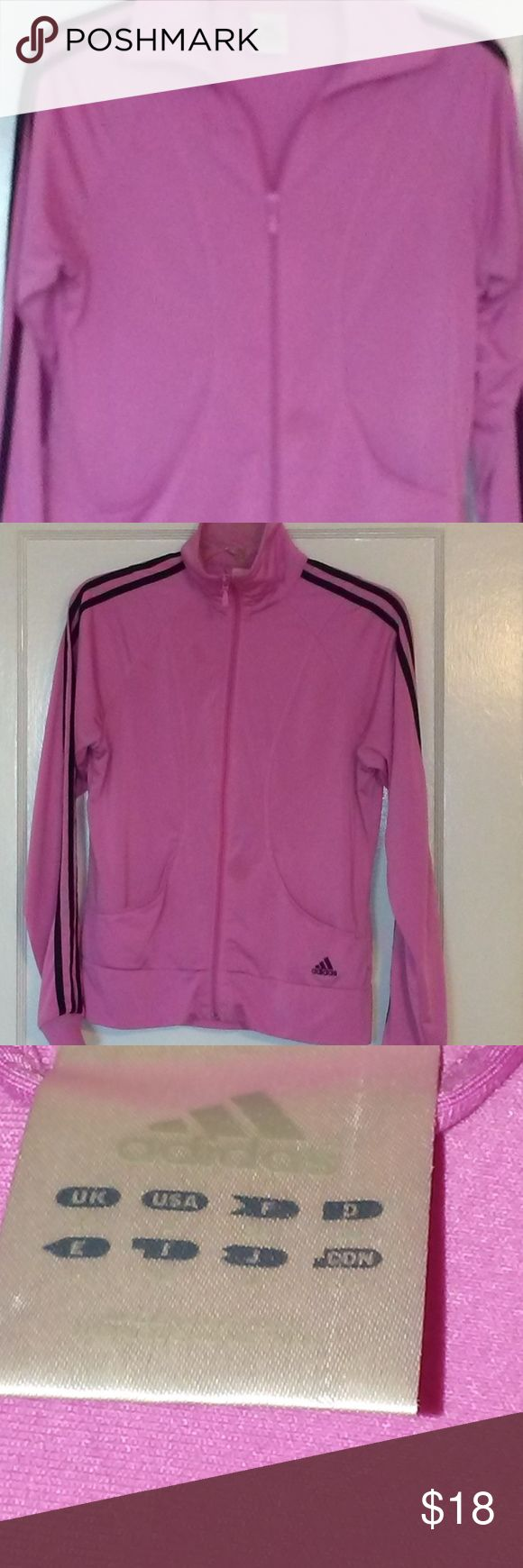 Adidas Women's Pink Black Stripes Track Jacket Siz Adidas Women's Pink Black Stripes Track Jacket Size S Zip Up Mock Turtleneck .  Thank you for your interest in my listing!!  Happy Shopping!! adidas Jackets & Coats