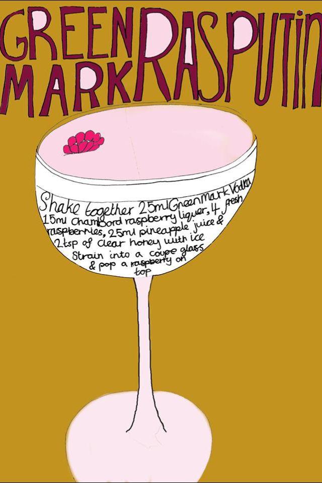 Green mark Rasputin cocktail. Illustration by Sarah Pow.