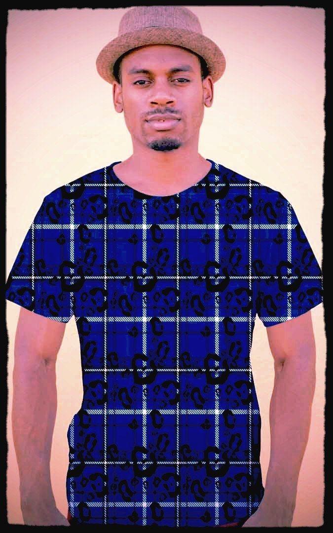 Men's Blue Plaid And Leopard Print T-Shirt