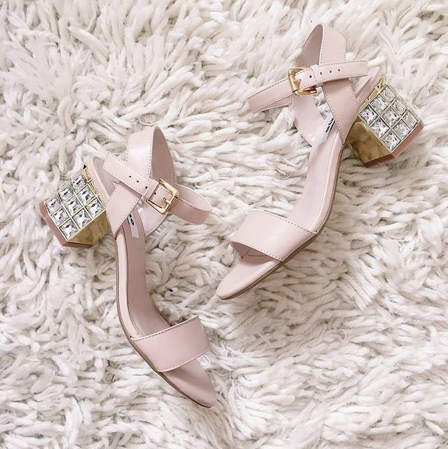 ExtraPetite.com - ASOS petite lace dress review Dune jeweled sandals