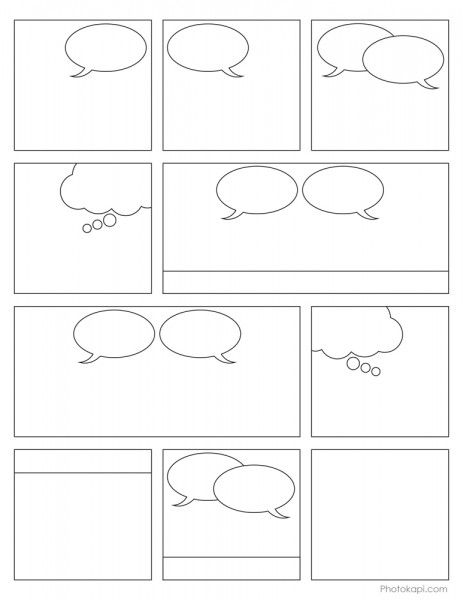 Free Comic Book Printable~ Students can create their own comic summaries, idiom cartoons. classroom rules, or...? They cut out the panels that they want and then sequence on a separate paper.