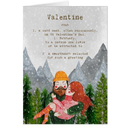 cute hipster couple in the snow valentine's day card - couple love gifts present idea