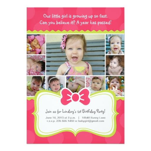 1860 best baby girls 1st birthday party invitations images on girls first birthday photo invitation bow stopboris Choice Image