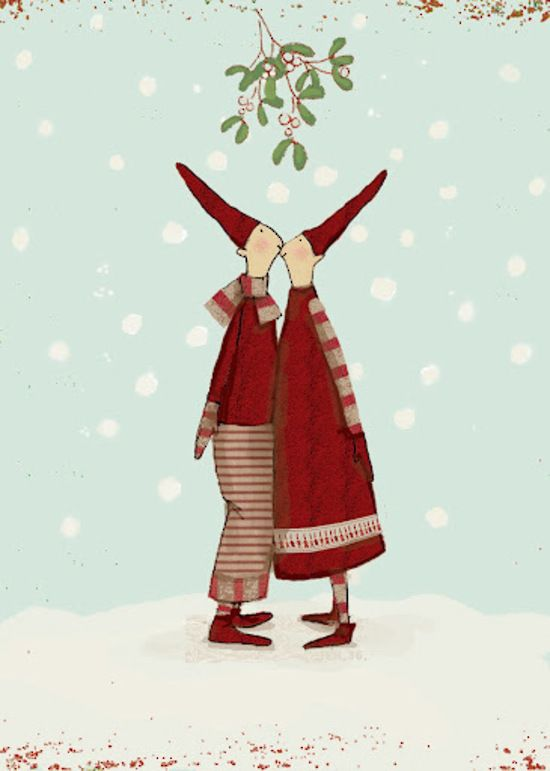 Kissing Pixies Under the Mistletoe ~ Maileg Christmas card $7.90 - Perch Home