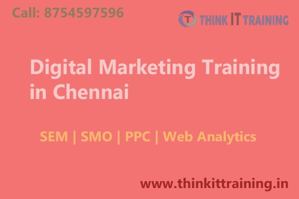 Our Digital Marketing Course Chennai provides the how to raise the level of business growth with the help of internet marketing and fullfill of your customers. for learn digital marketing http://www.thinkittraining.in/digital-marketing-training