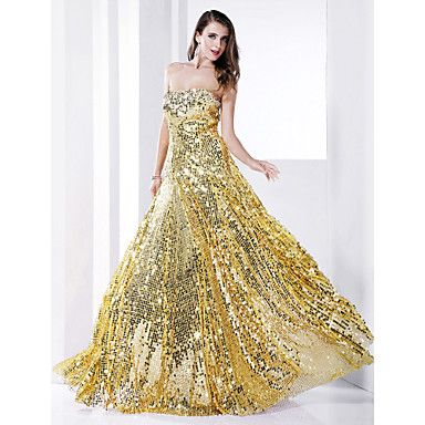 Formal Evening/Military Ball Dress - Gold Plus Sizes Sheath/Column Strapless Floor-length Sequined – USD $ 89.99