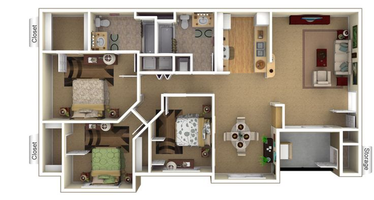 Two Bedroom Apartment Layout Google Search Houses