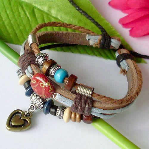 Genuine Hemp Leather Bracelet Wristband With Beautiful Turquoise Beads and Heart Pendant.