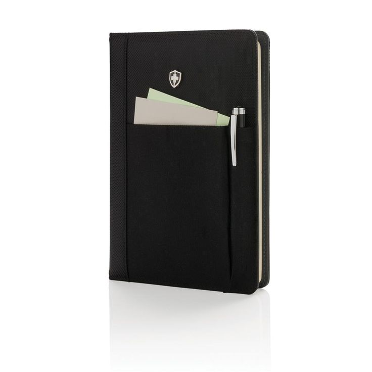 Executive 1680D and 600D polyester notebook cover with pen. Including removable notebook with 192 pages of 80g/m2 inside. Pocket on the cover can hold pen, cards, cash, cell phone etc. Packed in Swiss Peak giftbox.
