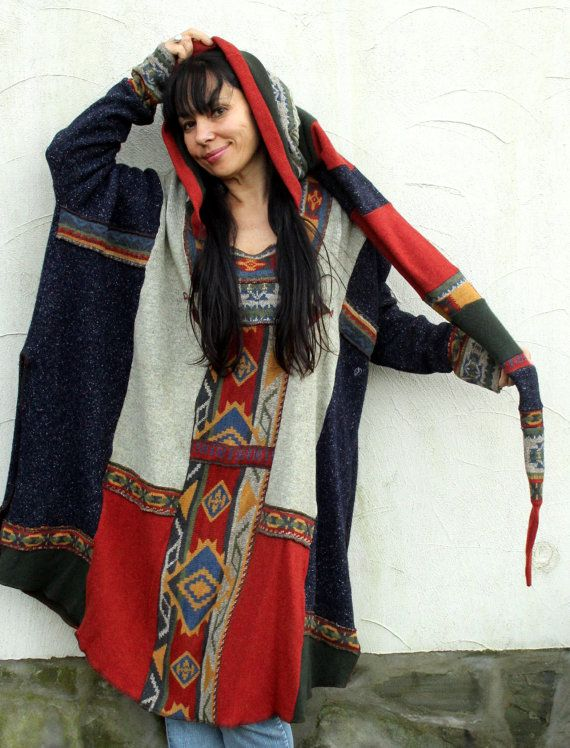 Ethnic folk recycled patchwork sweater poncho hood by jamfashion