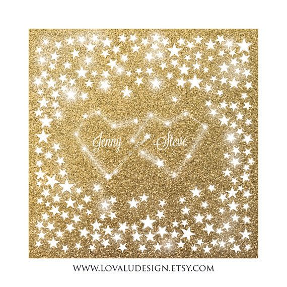 Constellation Love Love under the stars Gold glitter Wedding Guestbook 200 signatures on the stars. Choose signatures. Print on canvas