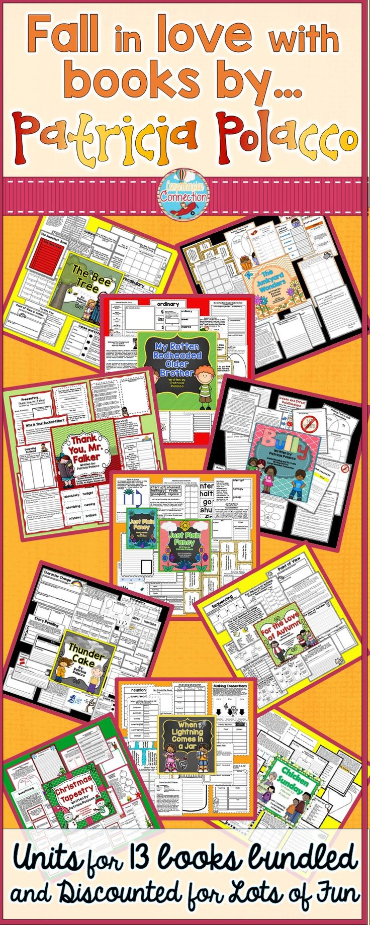 If you teach upper elementary, then you probably love Patricia Polacco. This Patricia Polacco bundle of 13 units includes many of her best selling titles. Teach your students comprehension skills, analyze her writing style, and improve your students writing with one resource. 216 pages (and growing).
