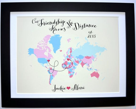 Best Friend Custom Art Print, Friend Gift Foreign Exchange ...