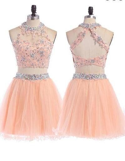 Peach Homecoming dress, 2 pieces homecoming dress, short homecoming dress