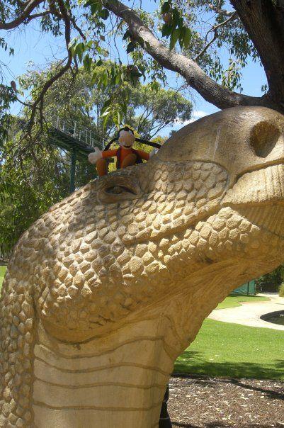 Meeting a dinosaur at Kings Park - Perth
