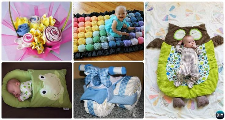 12 Handmade Baby Shower Gift Ideas [Picture Instructions]: Diaper Cakes, Diaper Babies, Baby Clothes Bouquets, Sew Baby Sleeping Bag, Nap mat, Changing Pad.