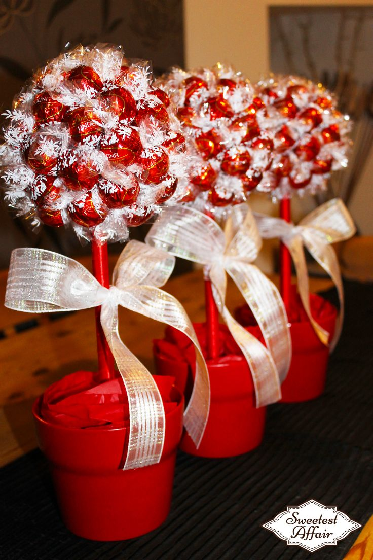 Red, White and Gold Wedding Sweet Tree Centrepieces- Lindt Sweet Trees http://www.ebay.co.uk/usr/sweetestaffair