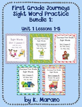This bundle includes all five packets from Unit 1. These packets include a variety of activities, games, and other printables designed to practice the sight words included in the First Grade Journeys reading series.