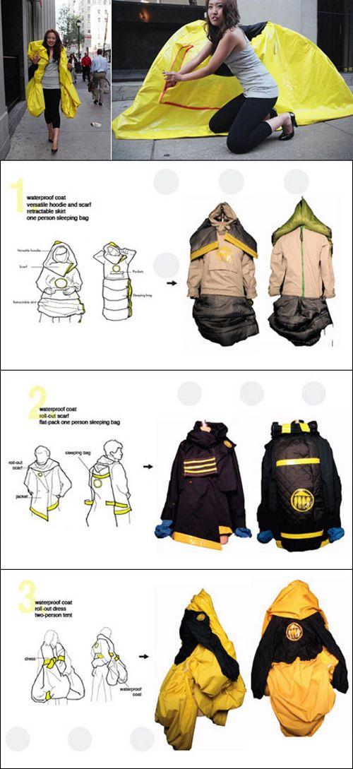 """Wearable Shelter (cobijo portátil para vestir) - Cuatro estudiantes de la Universidad de Pensilvania, Jin Hong, Sebastian Brauer, Ji In Sun y Jackie Starker, fueron más allá en 2009 y crearon una chaqueta-microcasa, con la voluntad de que las personas necesitadas que veían agolpadas en la calle se beneficiaran de """"prendas"""" similares."""