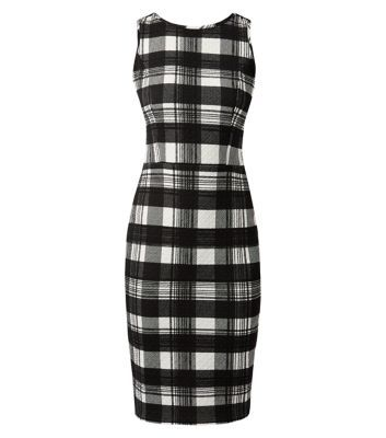 New Look - Monochrome Cut Out Back Jacquard Check Dress