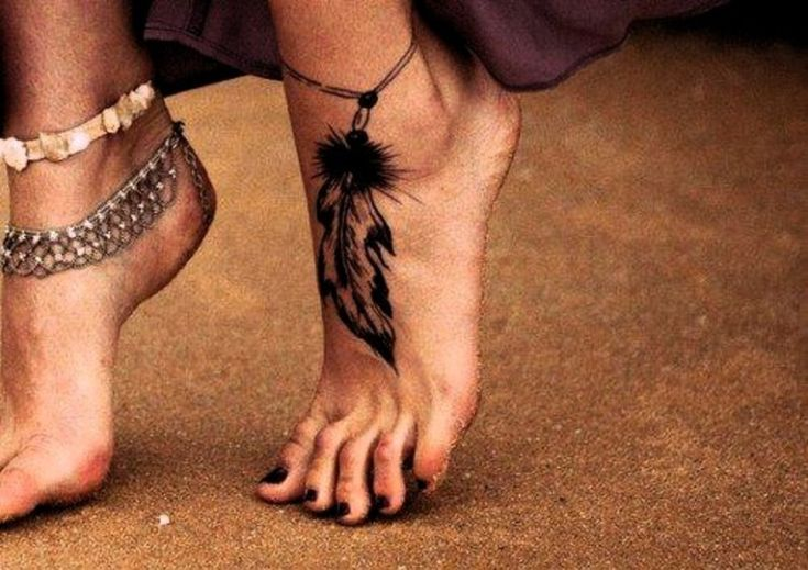 Feather ankle tattoo
