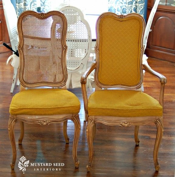 dining room chair makeover... for my broken cane-back chairs