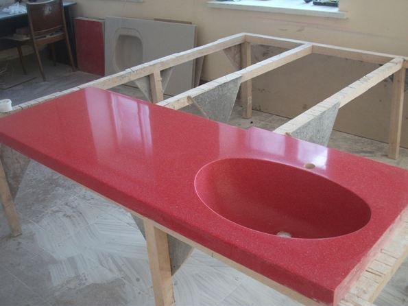 Столешницы для ванной из искусственного камня - недорого на заказ