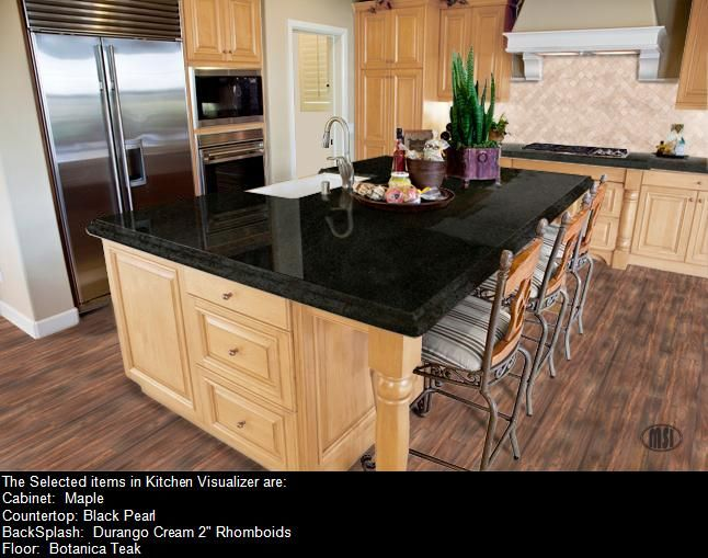 Black pearl granite with maple cabinets kitchen for Blue washed kitchen cabinets