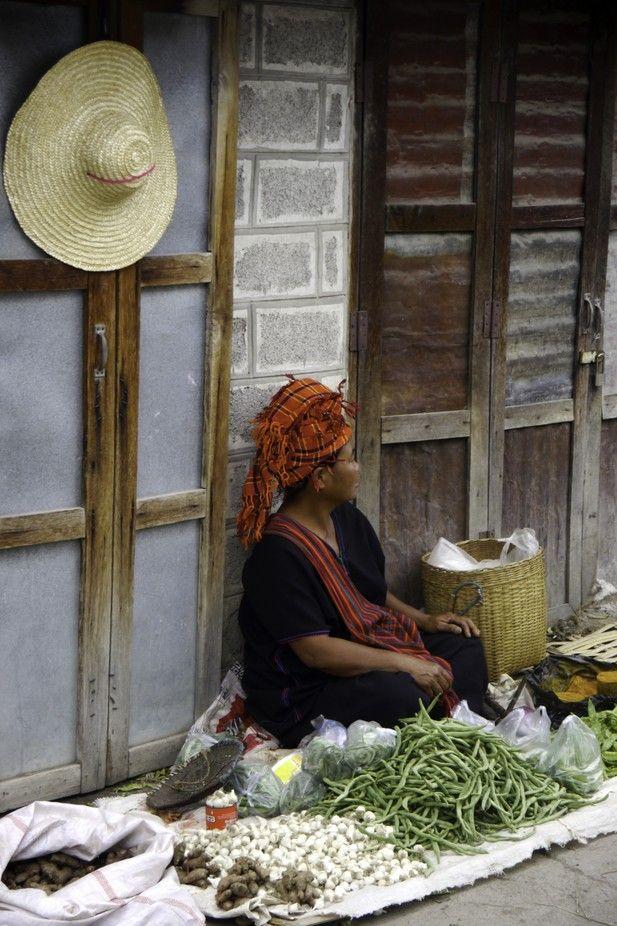 TONY'S TOURS - MYANMAR - HEHO - MARKET - TRIBAL WOMAN VENDOR - JULY - WINTER 2013