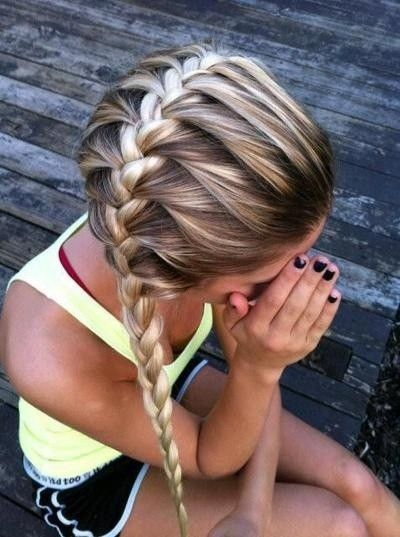 Gorgeous braided hairstyle...great for volleyball, or soccer!!