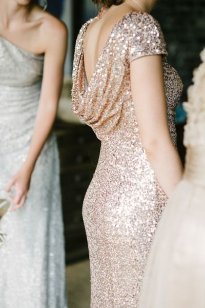 Sequin bridesmaid dress: http://www.stylemepretty.com/2014/10/02/glamorous-tampa-wedding-sprinkled-with-sequins/ | Photography: Marissa Moss - http://www.marissa-moss.com/