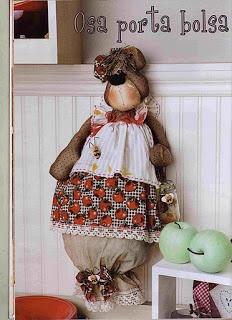 Amor-Perfeito-Amor: Ursa puxa-saco patchwork com molde e PAP