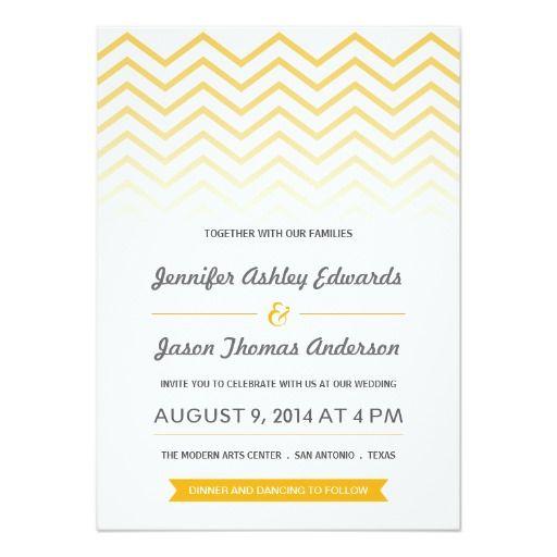 Yellow Ombre Chevron Wedding Invitations