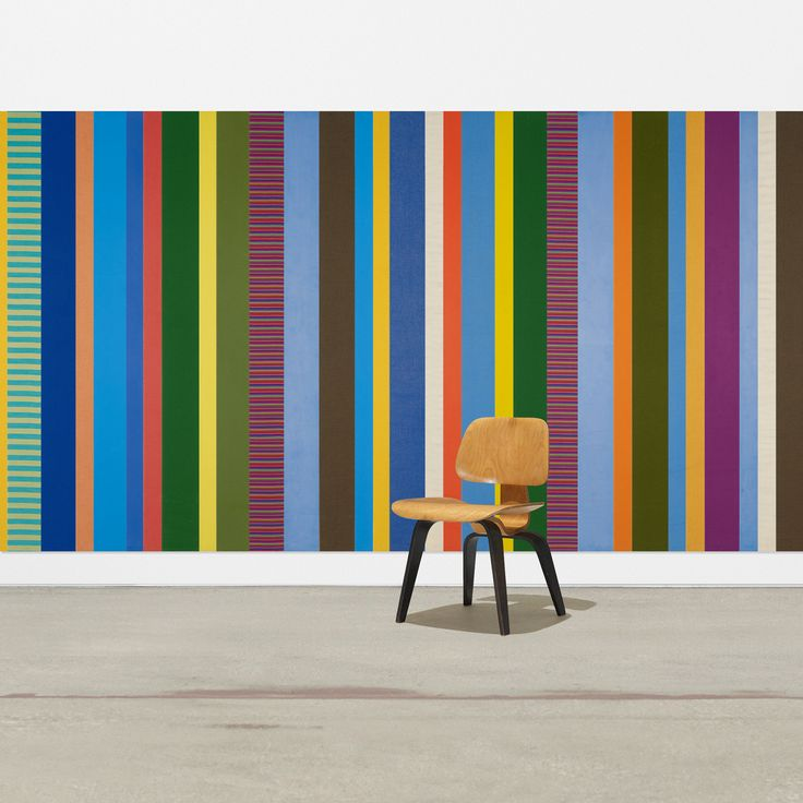 Lot 406: Alexander Girard. custom mural from the Irwin Union Bank & Trust Company, Columbus, IN. 1973, Alexander Girard fabric over wood. 402 w x 72 h in. result: $27,500. estimate: $5,000–7,000. Mural is composed of ninety-three upholstered panels. Provenance: Irwin Union Bank & Trust Company, Columbus   Cummins Inc., Columbus